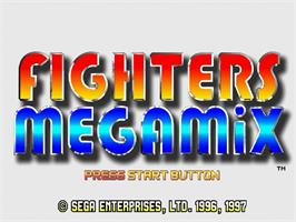 Title screen of Fighter's Megamix on the Sega Saturn.