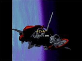 Title screen of Gekirindan: Time Travel Shooting on the Sega Saturn.