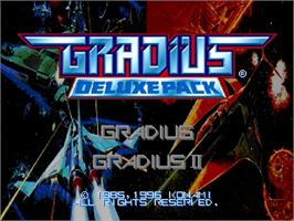 Title screen of Gradius Deluxe Pack on the Sega Saturn.