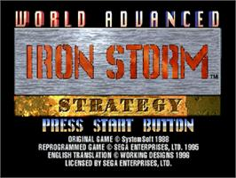 Title screen of Iron Storm on the Sega Saturn.