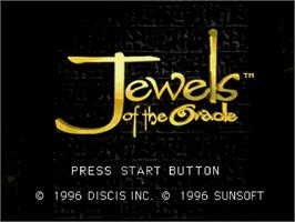Title screen of Jewels of the Oracle on the Sega Saturn.
