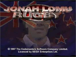 Title screen of Jonah Lomu Rugby on the Sega Saturn.