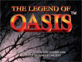 Title screen of Legend of Oasis on the Sega Saturn.