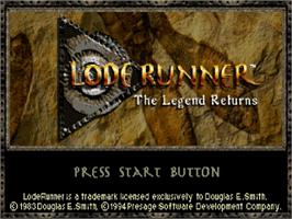 Title screen of Lode Runner: The Legend Returns on the Sega Saturn.