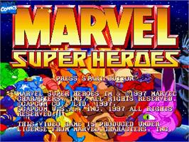Title screen of Marvel Super Heroes on the Sega Saturn.