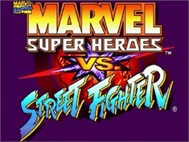 Title screen of Marvel Super Heroes Vs. Street Fighter on the Sega Saturn.