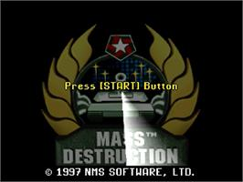 Title screen of Mass Destruction on the Sega Saturn.