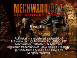 Title screen of MechWarrior 2: 31st Century Combat on the Sega Saturn.
