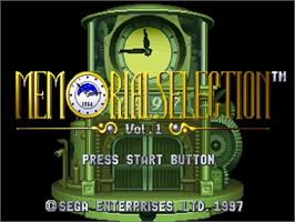 Title screen of Memorial Selection Vol. 1 on the Sega Saturn.