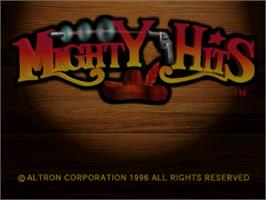 Title screen of Mighty Hits on the Sega Saturn.