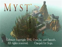 Title screen of Myst on the Sega Saturn.