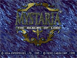 Title screen of Mystaria: The Realms of Lore on the Sega Saturn.