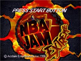 Title screen of NBA Jam Extreme on the Sega Saturn.