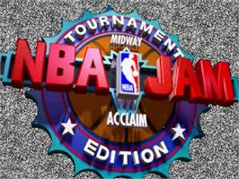 Title screen of NBA Jam TE on the Sega Saturn.