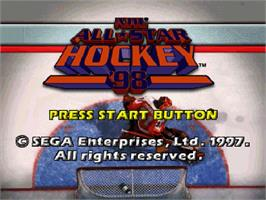 Title screen of NHL All-Star Hockey '98 on the Sega Saturn.