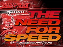 Title screen of Need for Speed on the Sega Saturn.