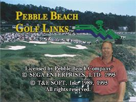 Title screen of Pebble Beach Golf Links on the Sega Saturn.