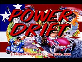 Title screen of Power Drift on the Sega Saturn.