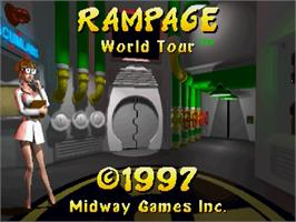 Title screen of Rampage: World Tour on the Sega Saturn.