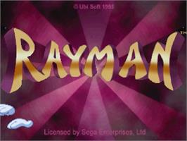 Title screen of Rayman on the Sega Saturn.