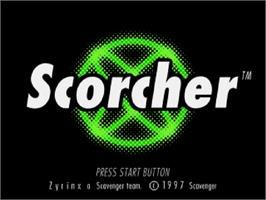 Title screen of Scorcher on the Sega Saturn.