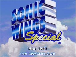 Title screen of Sonic Wings Special on the Sega Saturn.