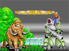 Title screen of Space Harrier on the Sega Saturn.