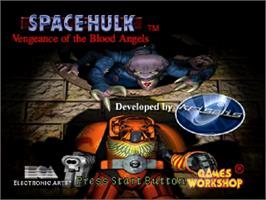 Title screen of Space Hulk: Vengeance of the Blood Angels on the Sega Saturn.