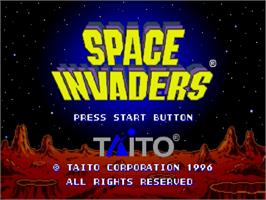 Title screen of Space Invaders on the Sega Saturn.