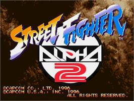 Title screen of Street Fighter Alpha 2 on the Sega Saturn.