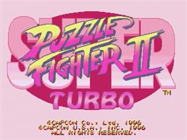 Title screen of Super Puzzle Fighter II Turbo on the Sega Saturn.