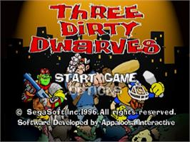 Title screen of Three Dirty Dwarves on the Sega Saturn.