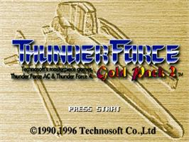 Title screen of Thunder Force: Gold Pack 2 on the Sega Saturn.