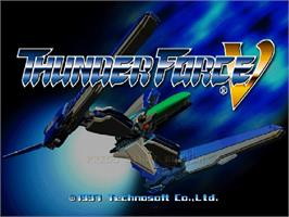 Title screen of Thunder Force V: Perfect System on the Sega Saturn.