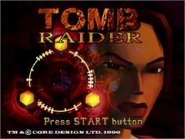 Title screen of Tomb Raider on the Sega Saturn.