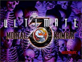 Title screen of Ultimate Mortal Kombat 3 on the Sega Saturn.