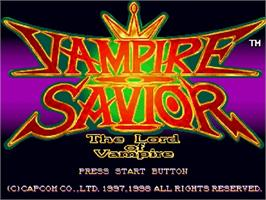 Title screen of Vampire Savior: The Lord of Vampire on the Sega Saturn.