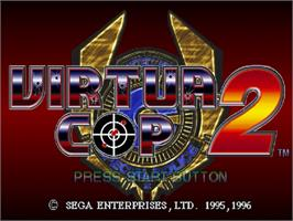 Title screen of Virtua Cop 2 on the Sega Saturn.