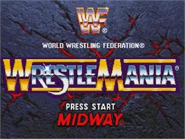 Title screen of WWF Wrestlemania on the Sega Saturn.