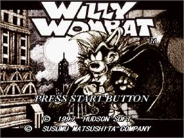 Title screen of Willy Wombat on the Sega Saturn.