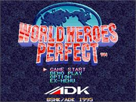 Title screen of World Heroes Perfect on the Sega Saturn.