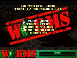 Title screen of Worms on the Sega Saturn.