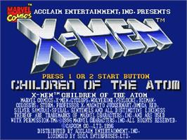 Title screen of X-Men: Children of the Atom on the Sega Saturn.