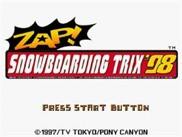 Title screen of Zap! Snowboarding Trix '98 on the Sega Saturn.