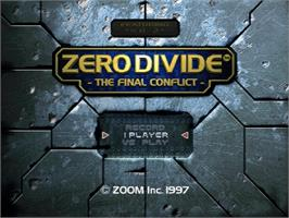 Title screen of Zero Divide: The Final Conflict on the Sega Saturn.