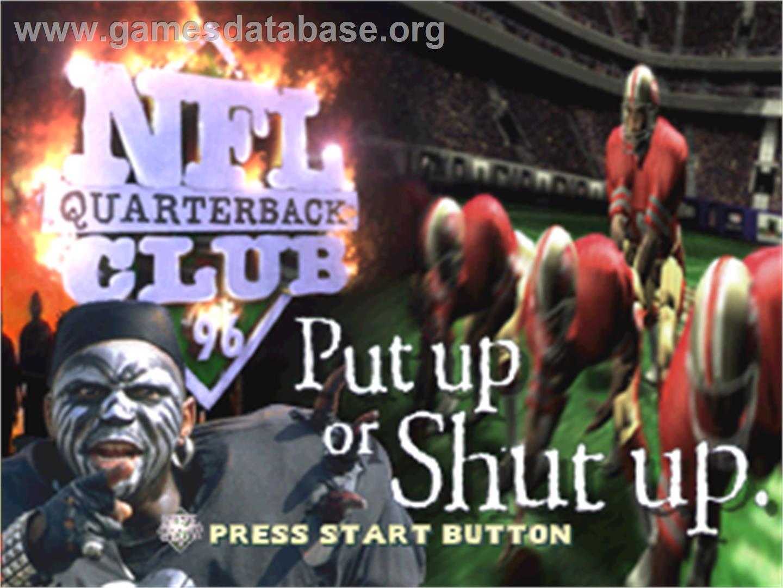 Title screen of NFL Quarterback Club '96 on the Sega Saturn.