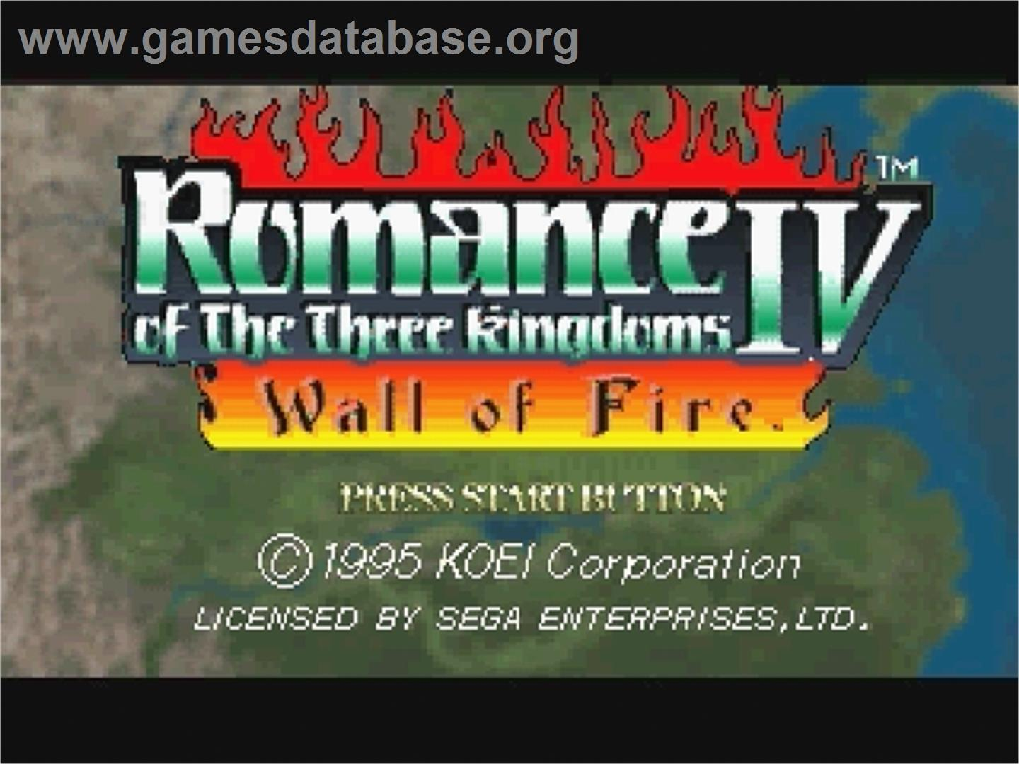 Title screen of Romance of the Three Kingdoms IV: Wall of Fire on the