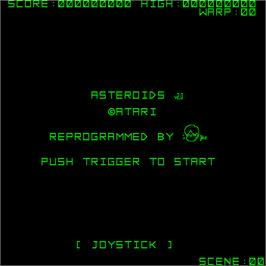Title screen of Asteroids on the Sharp X68000.
