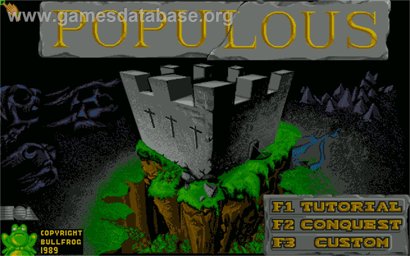 Title screen of Populous on the Sharp X68000.