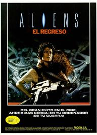 Advert for Aliens: The Computer Game on the Sinclair ZX Spectrum.